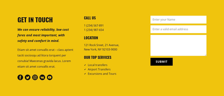 Transportation service contacts HTML Template