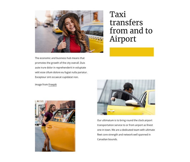 Taxi transfers from airport Web Page Design