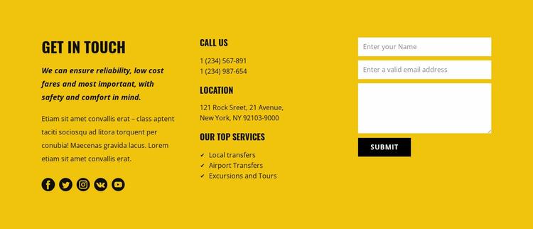 Transportation service contacts Website Mockup
