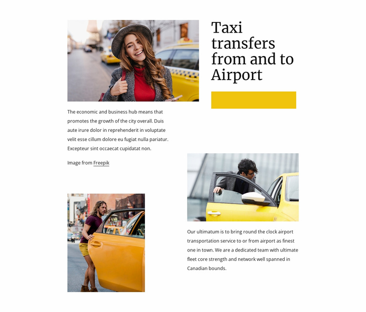 Taxi transfers from airport Website Template
