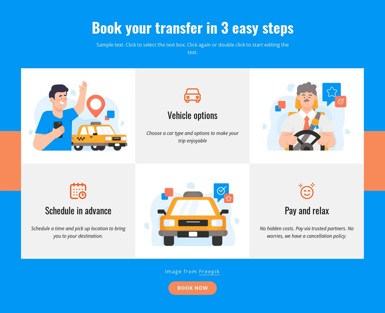 Book your transfer in 3 steps Joomla Page Builder