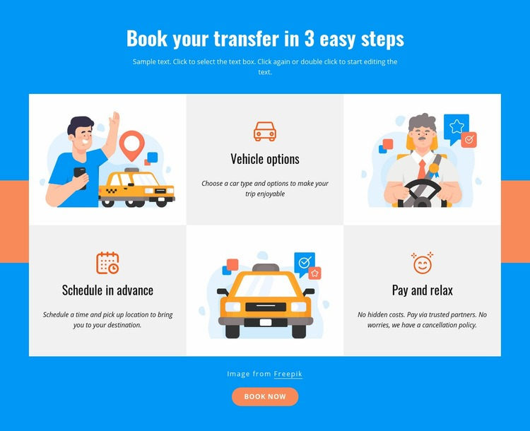 Book your transfer in 3 steps Web Page Design