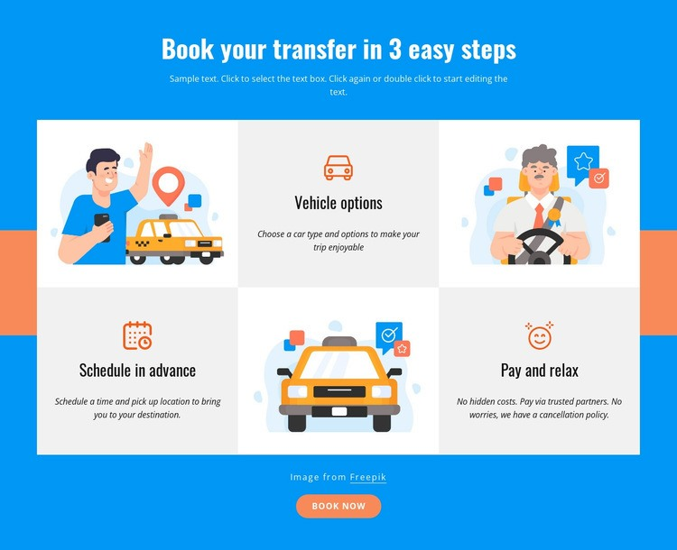 Book your transfer in 3 steps Web Page Designer