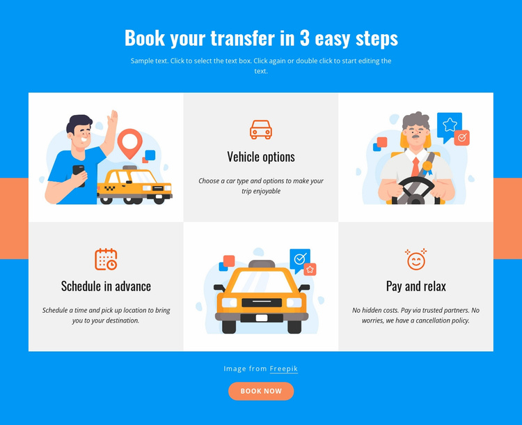 Book your transfer in 3 steps Website Template