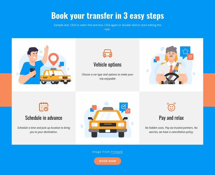 Book your transfer in 3 steps WordPress Website Builder