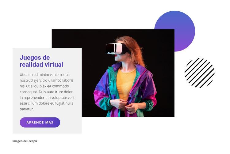 Juegos de realidad virtual Plantilla de sitio web