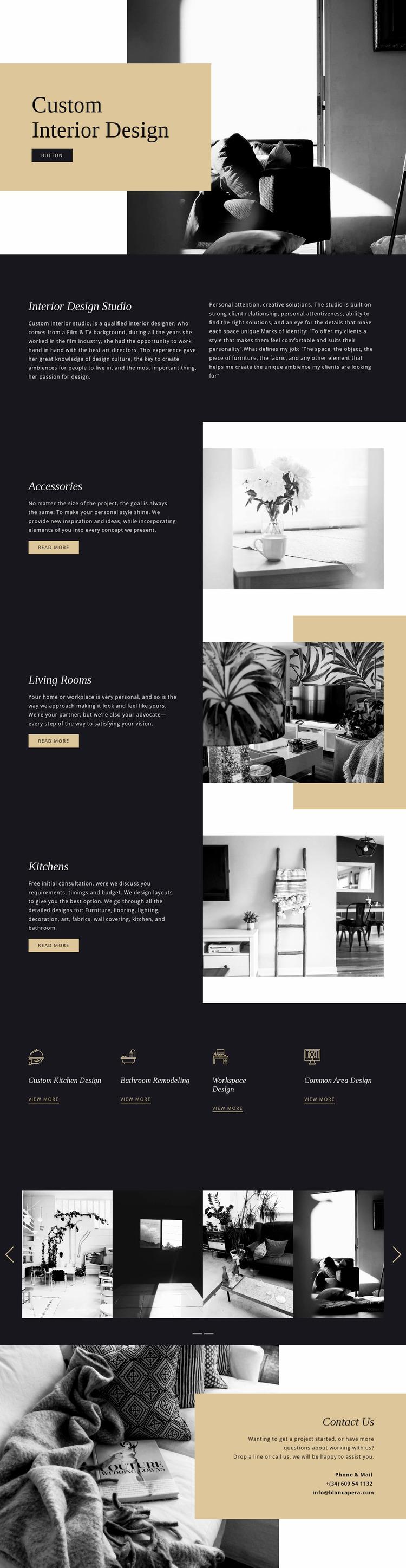 Custom modern interior Website Mockup