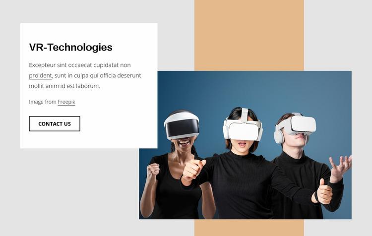 VR technologies Website Mockup