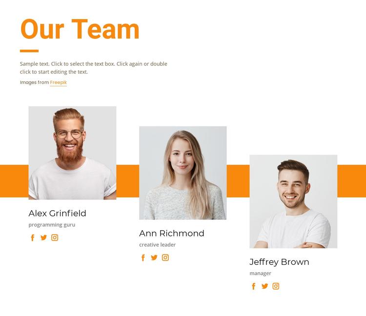 Meet our creative team Joomla Template