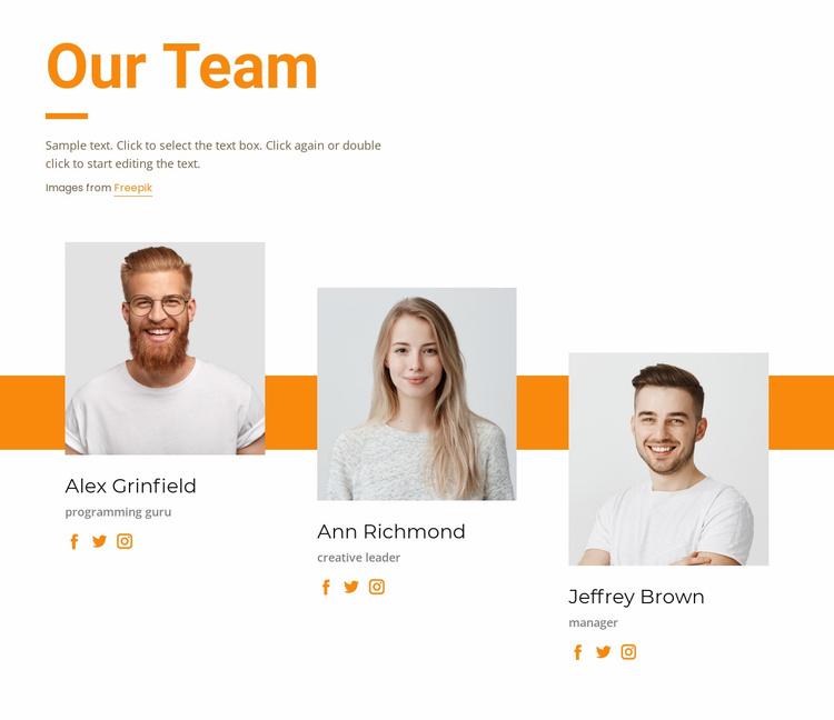 Meet our creative team Website Template