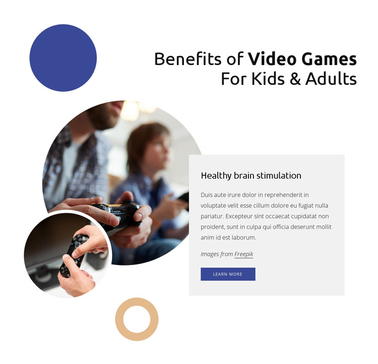 Benefins of video games HTML Template