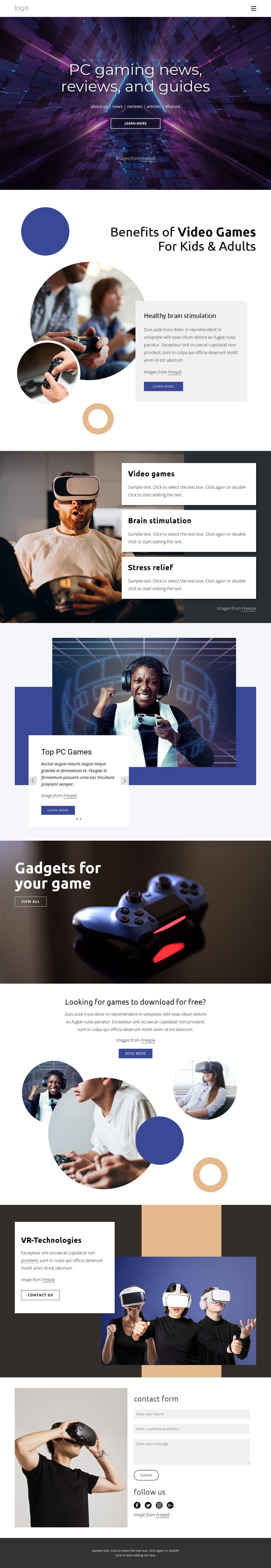 PC gaming news One Page Template