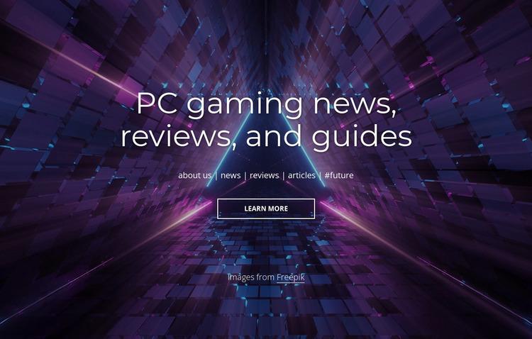 PC gaming news and reviews Website Mockup