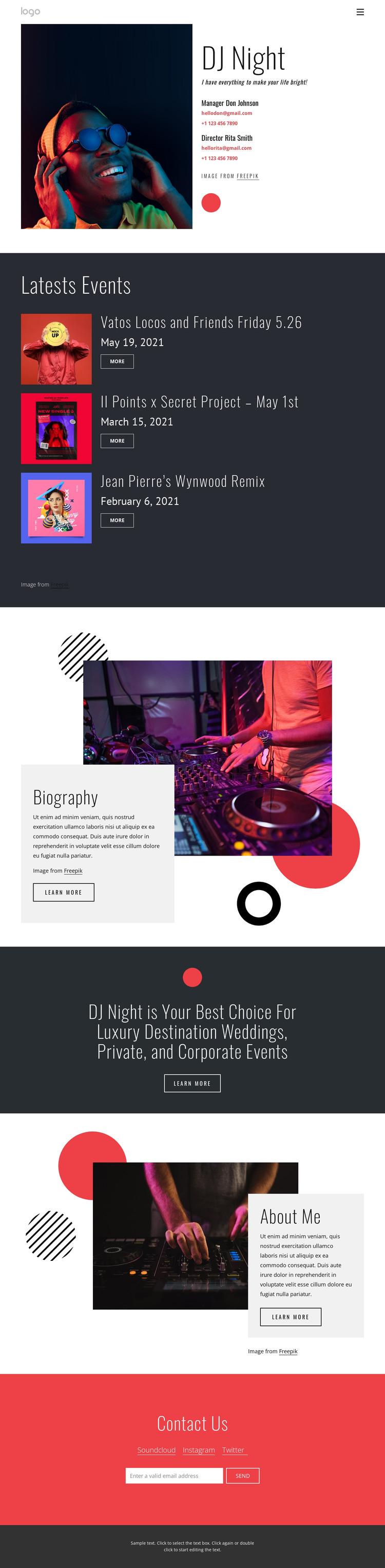 Dj night website HTML Template