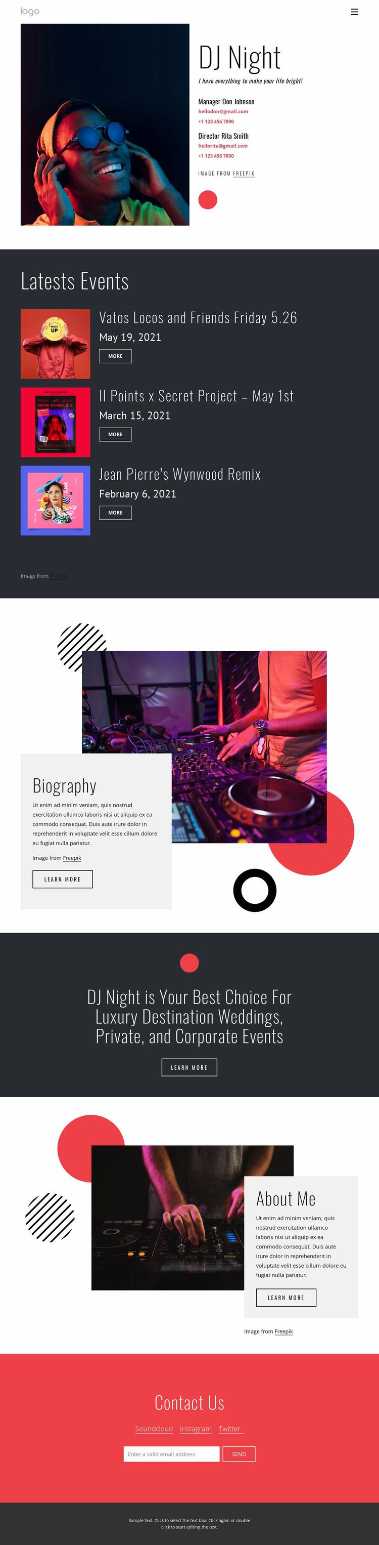 Dj night website WordPress Website Builder