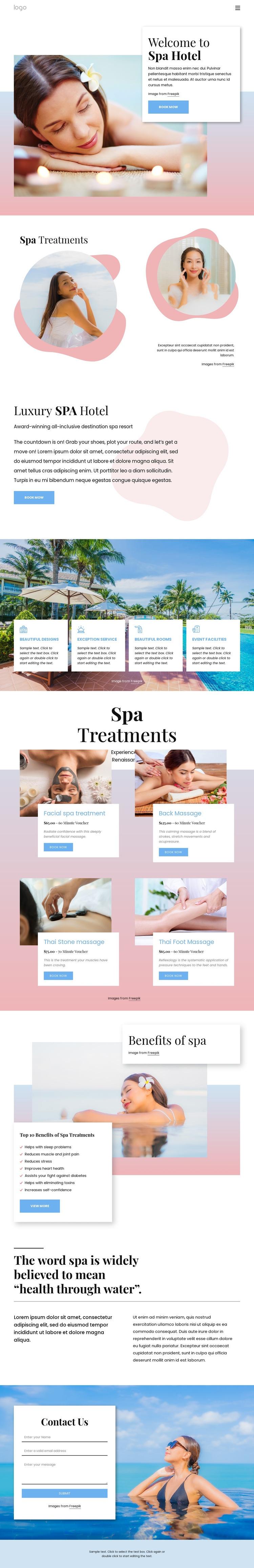 Spa boutique hotel Web Page Designer