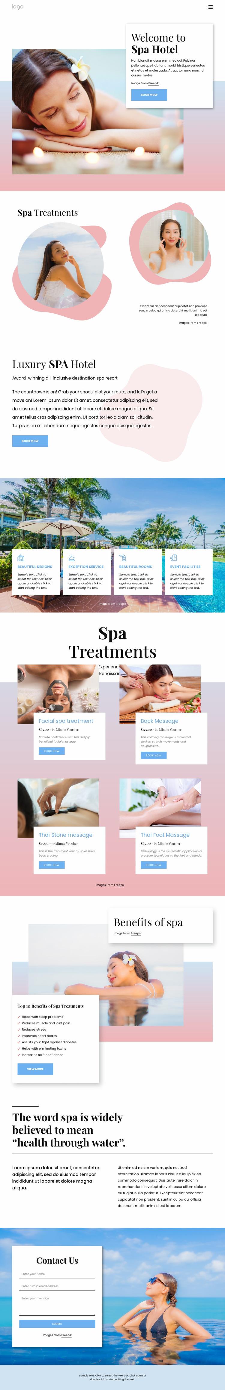 Spa boutique hotel Website Mockup