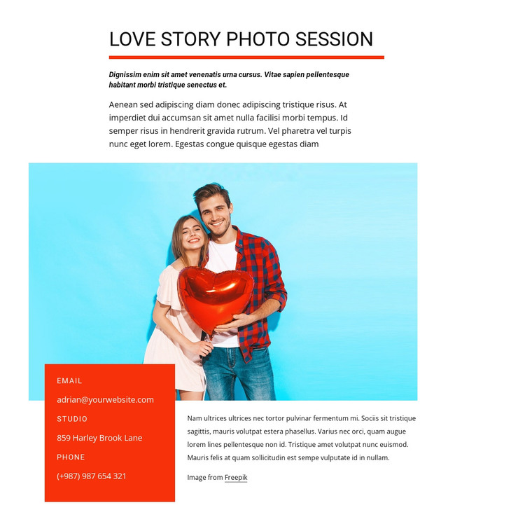 Love story photo session HTML Template