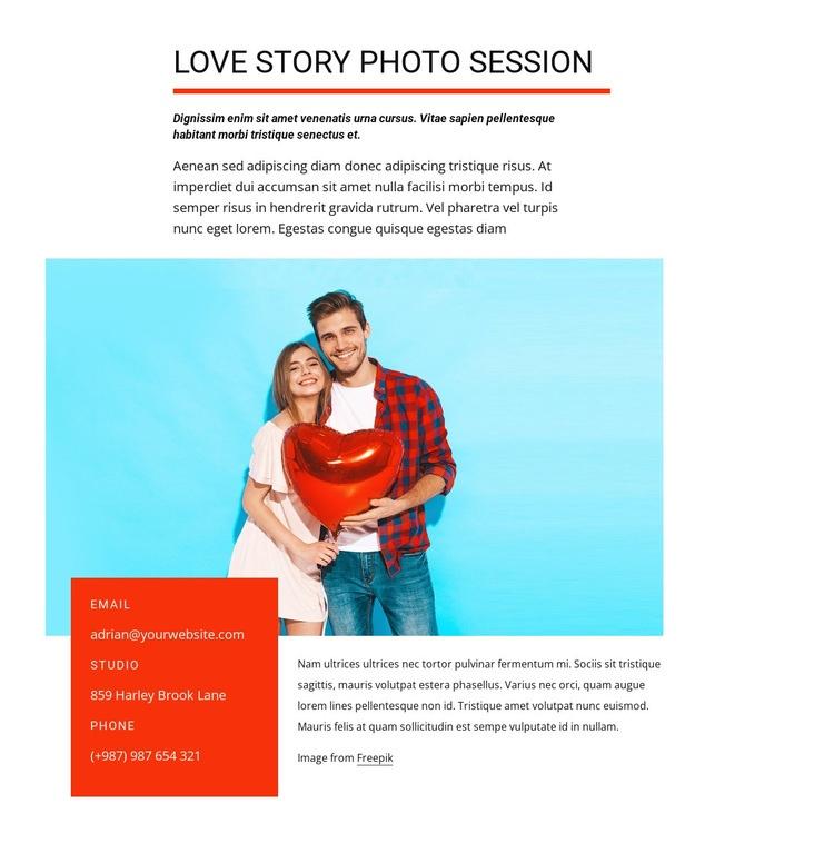 Love story photo session Web Page Designer