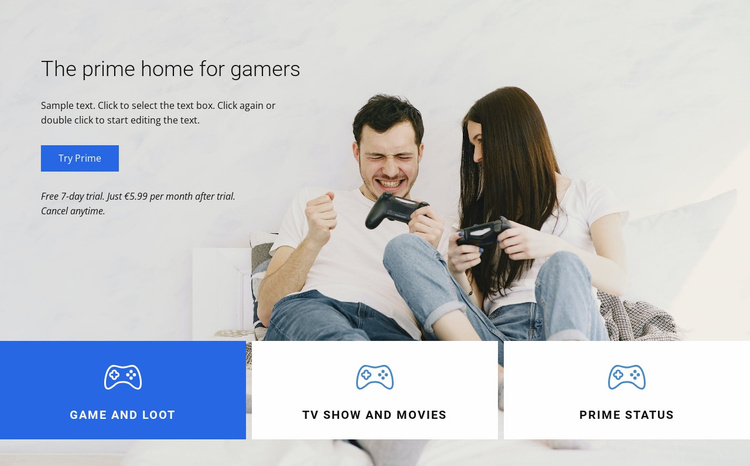 The prime home for gamers Landing Page