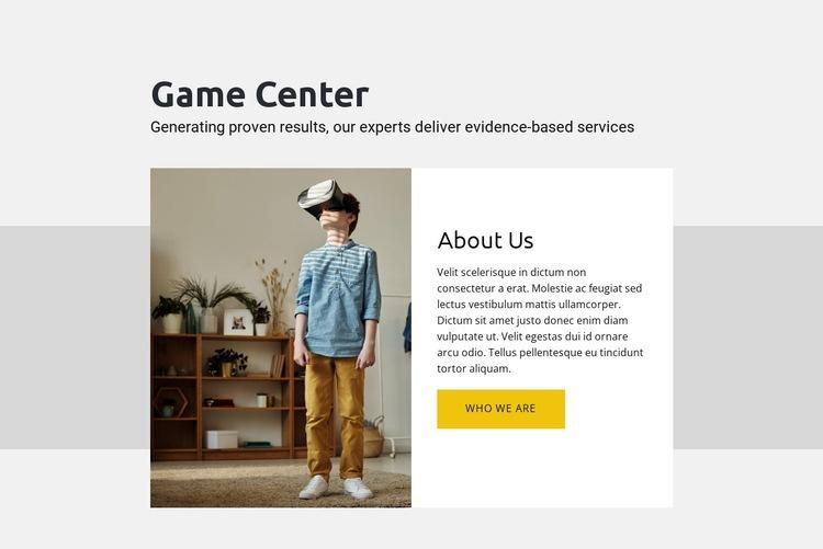 Game center Web Page Designer