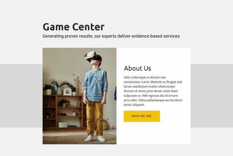 Game center Website Template