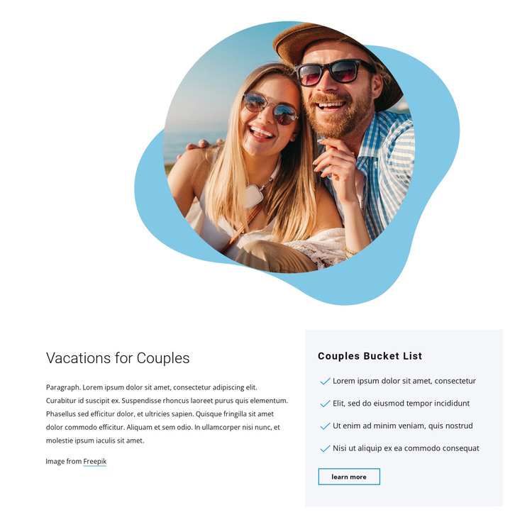 Vacations for couples HTML Template