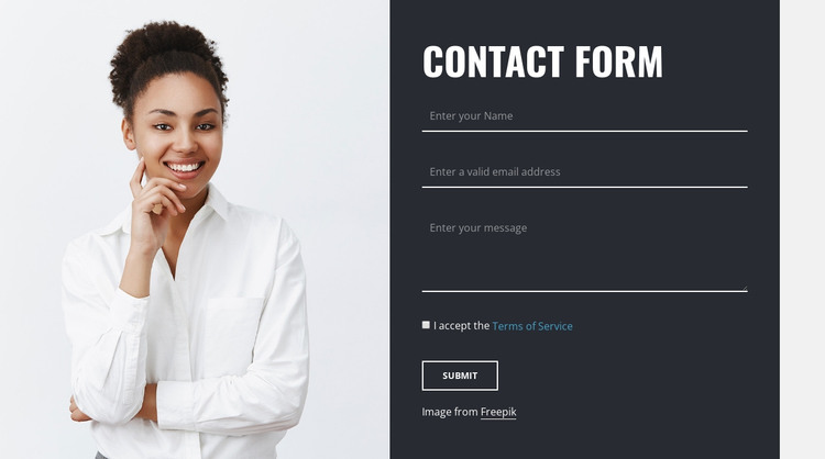 Contact form with image HTML Template