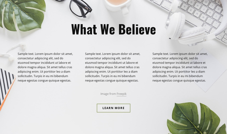 Text on office background Website Builder Templates