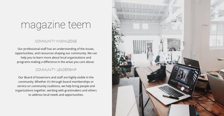 Magazine team Website Builder Software