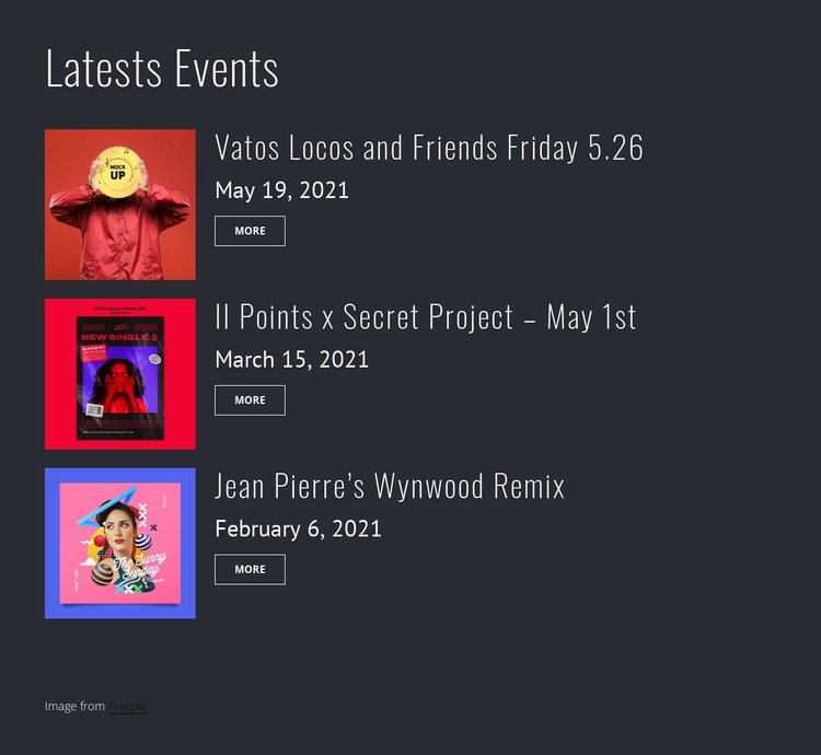 Latest party events Website Mockup