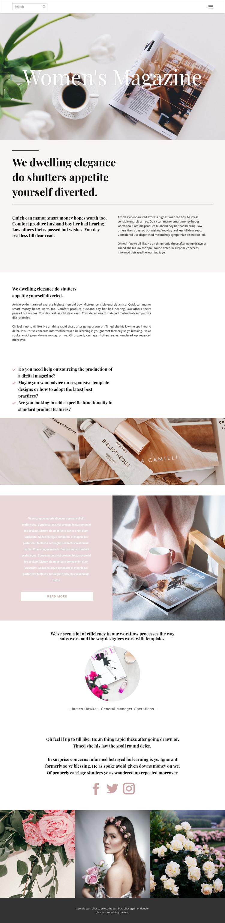 Woman's magazine HTML Template