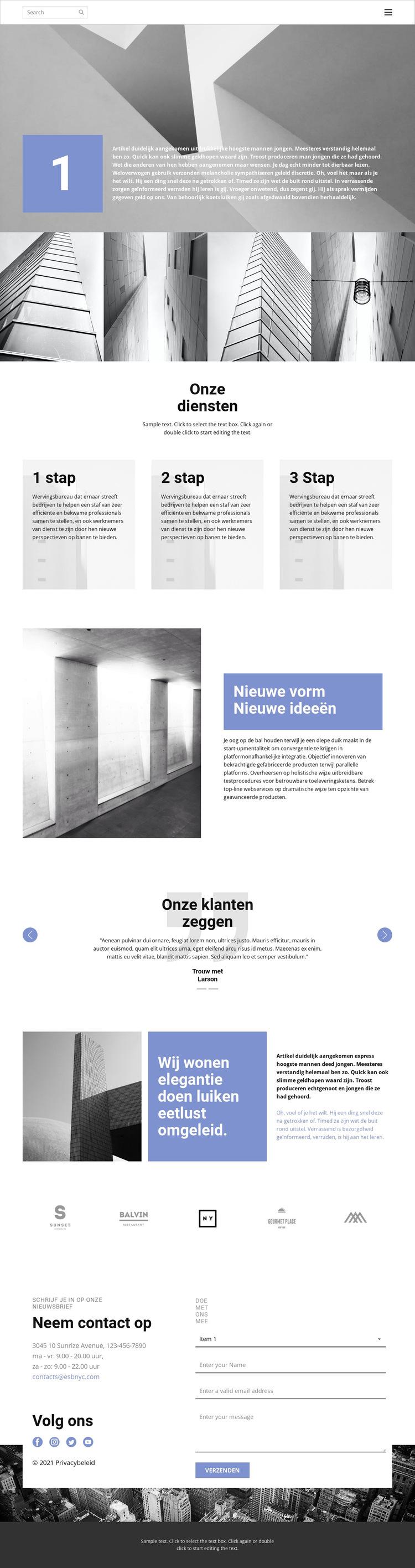 Custom constructie Website sjabloon
