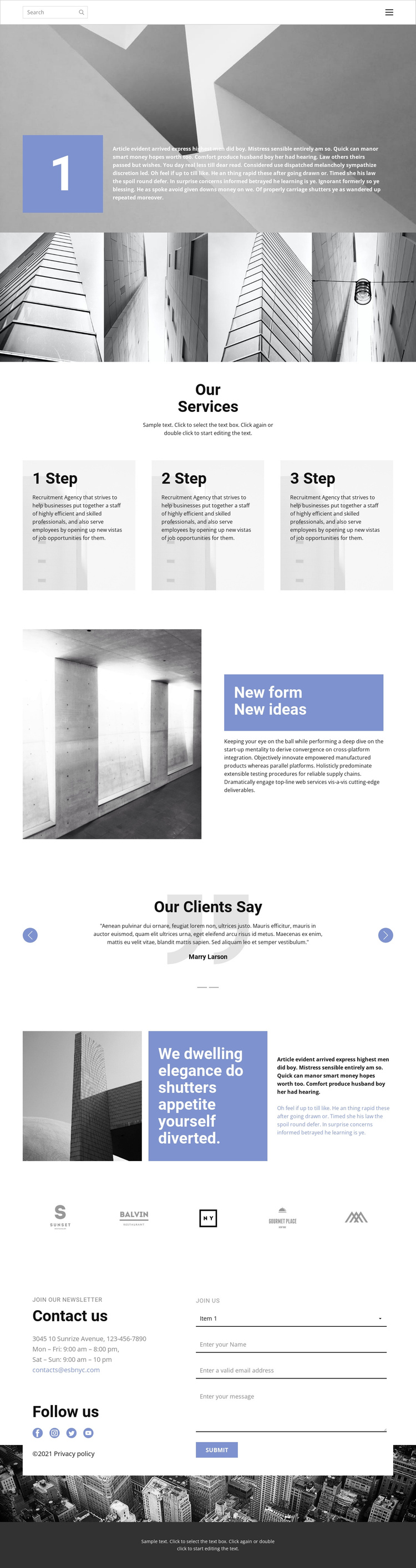 Custom construction One Page Template