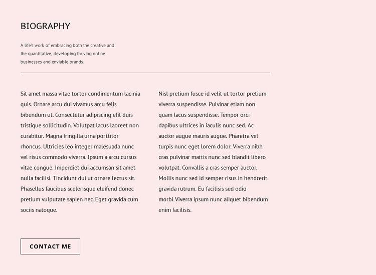 Biography Website Mockup