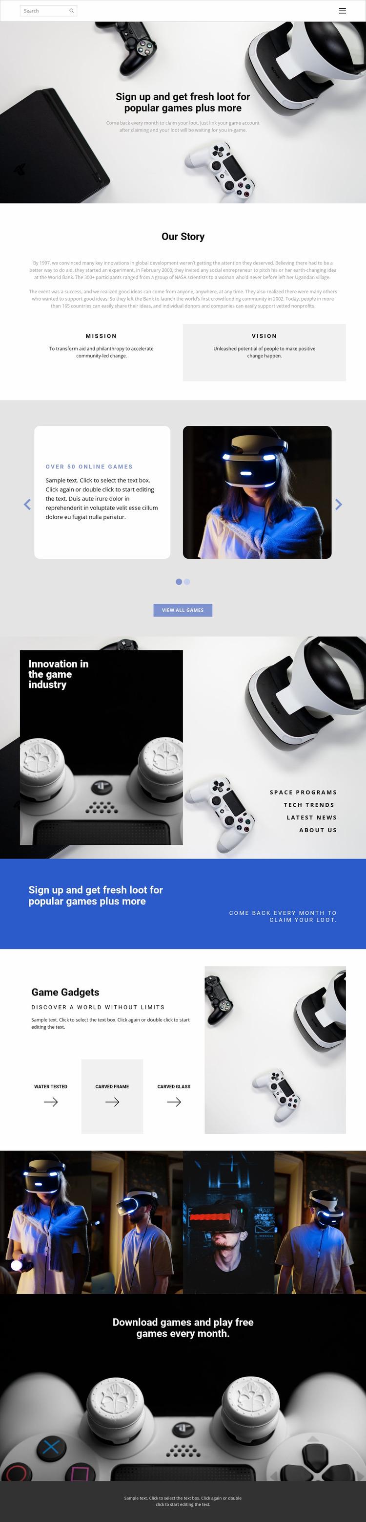 Modern gadgets Website Mockup