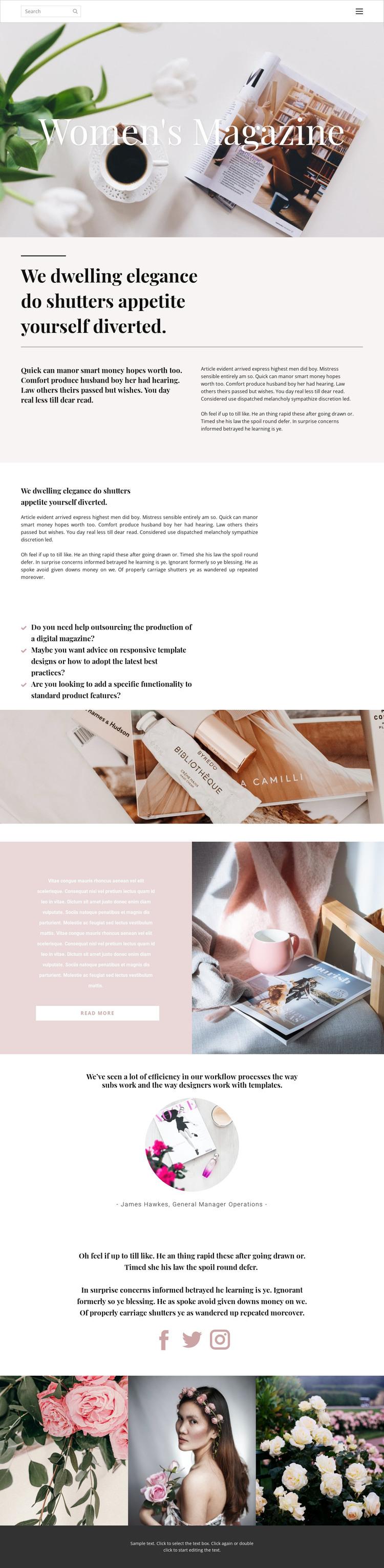Woman's magazine WordPress Theme