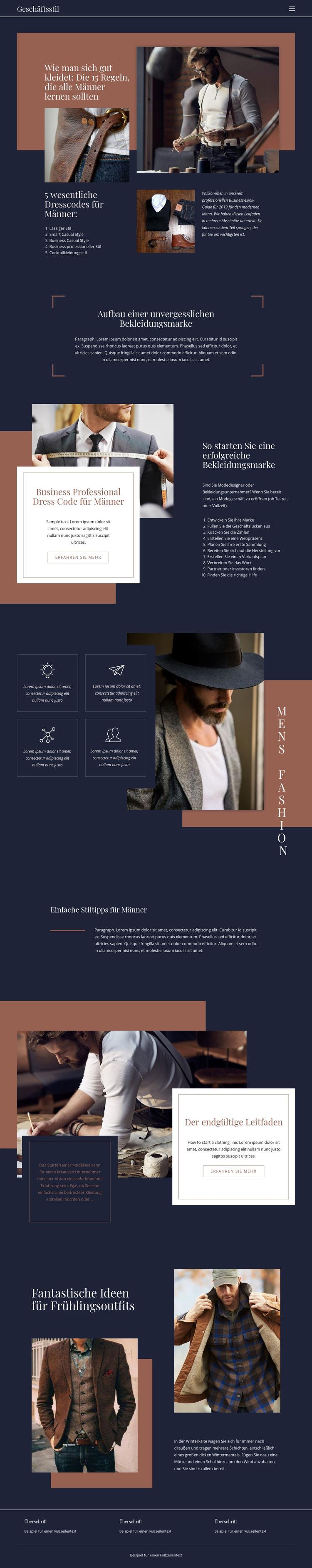 Gewinnende Regeln der Mode Website-Vorlage