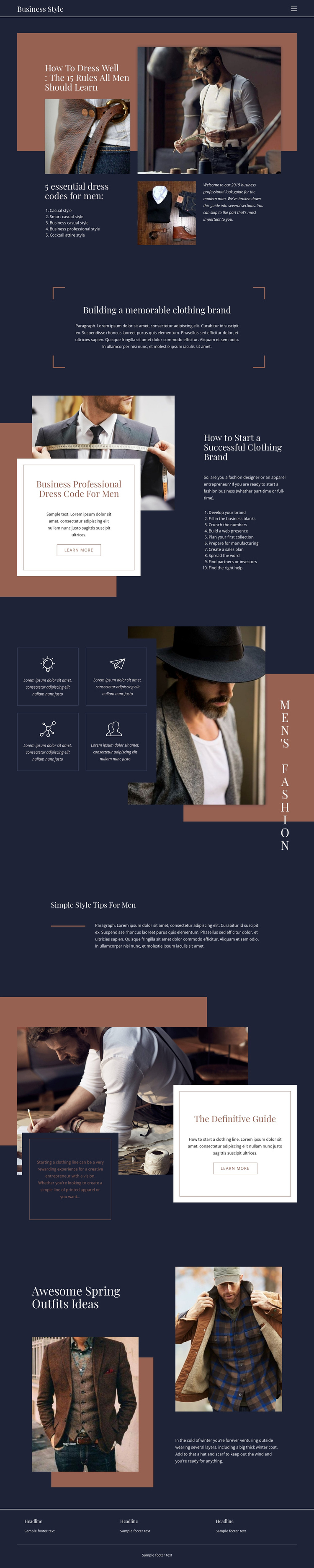 Winning rules of fashion One Page Template