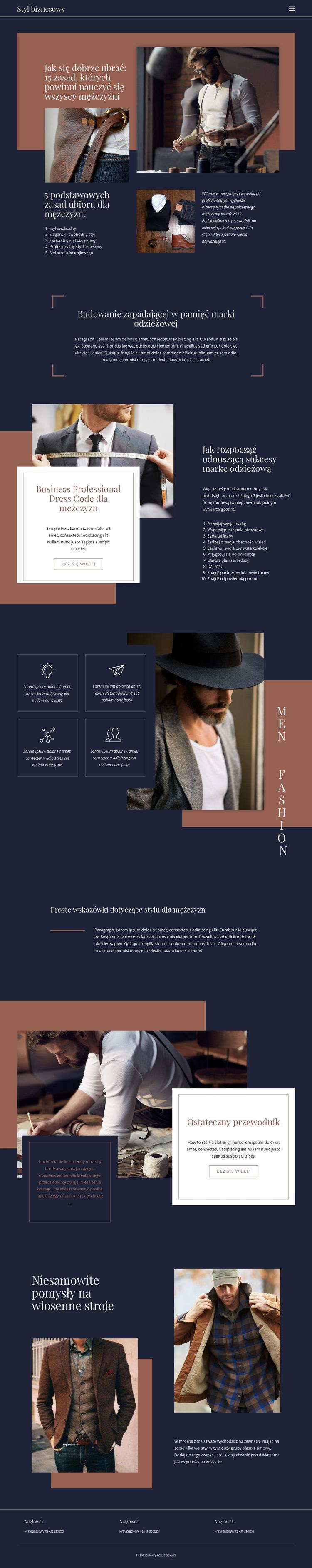 Zwycięskie zasady mody Szablon witryny sieci Web