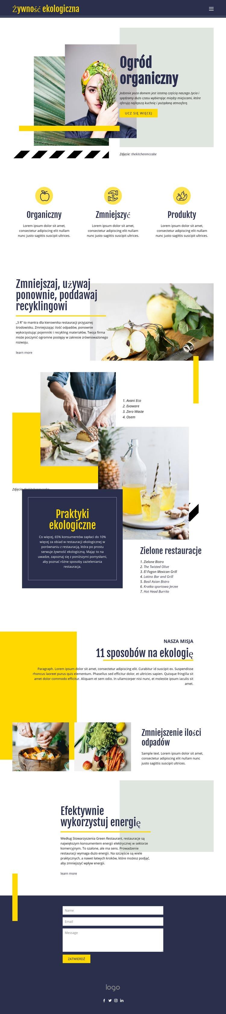 Organiczna żywność naturalna Szablon witryny sieci Web