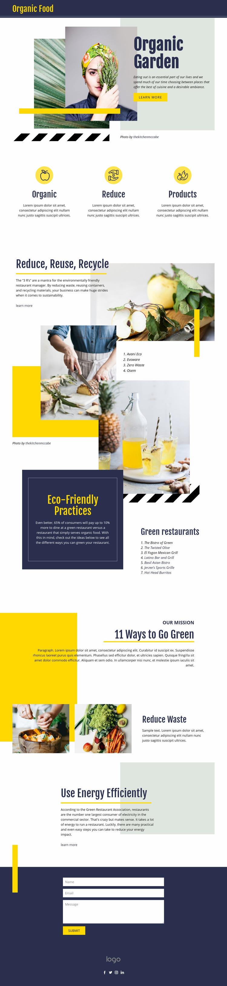Organic natural food Web Page Design