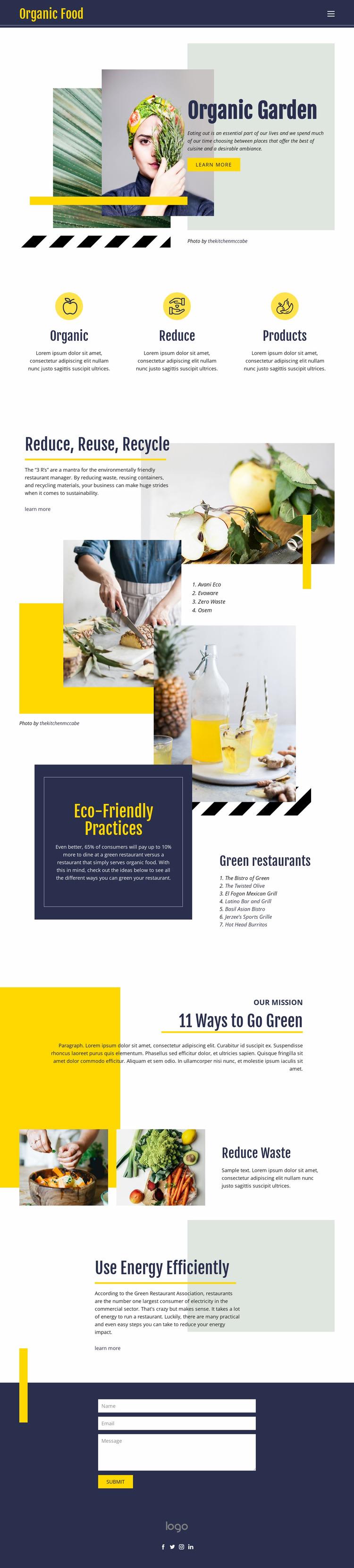 Organic natural food Website Mockup