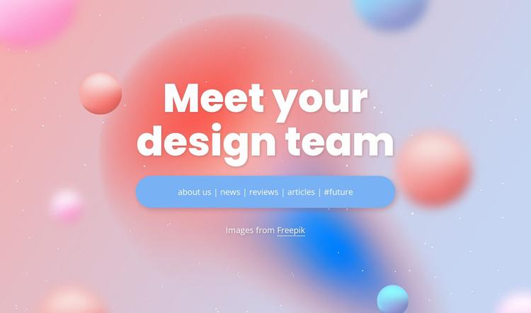 Meet your design team Landing Page