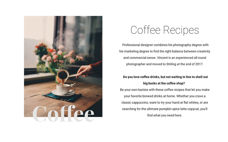 Coffee recipes Website Builder Software