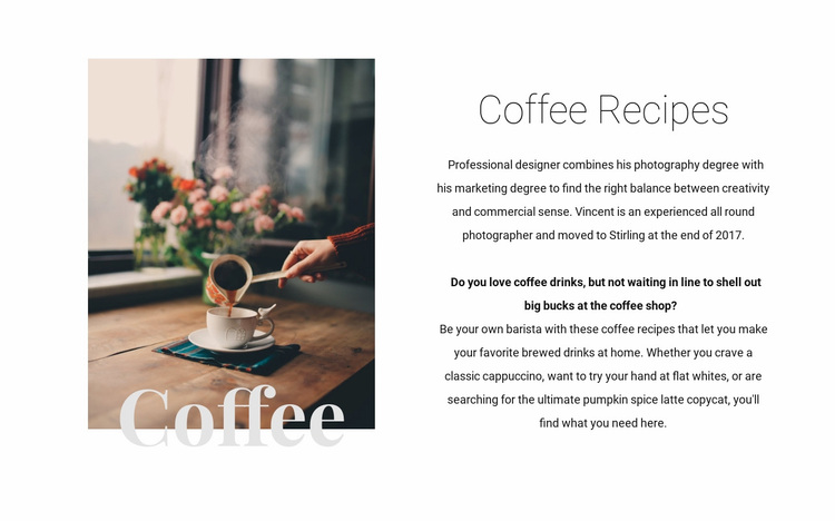 Coffee recipes Website Design