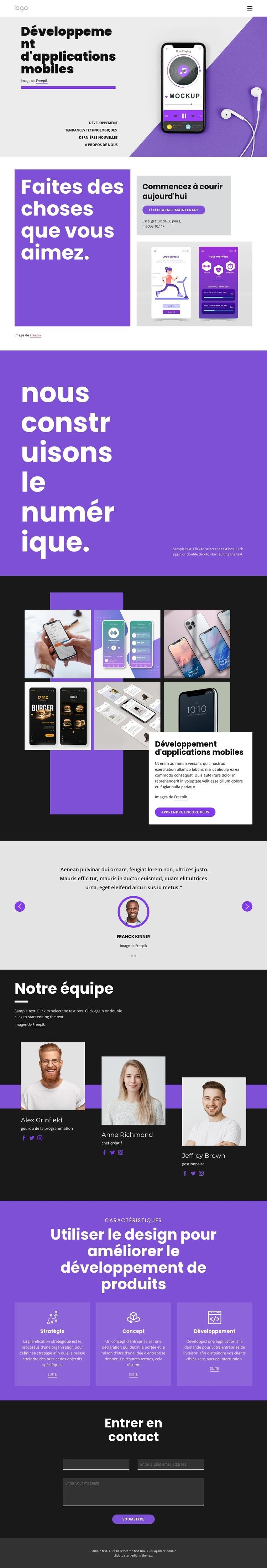 Développement d'applications mobiles Modèle de site Web