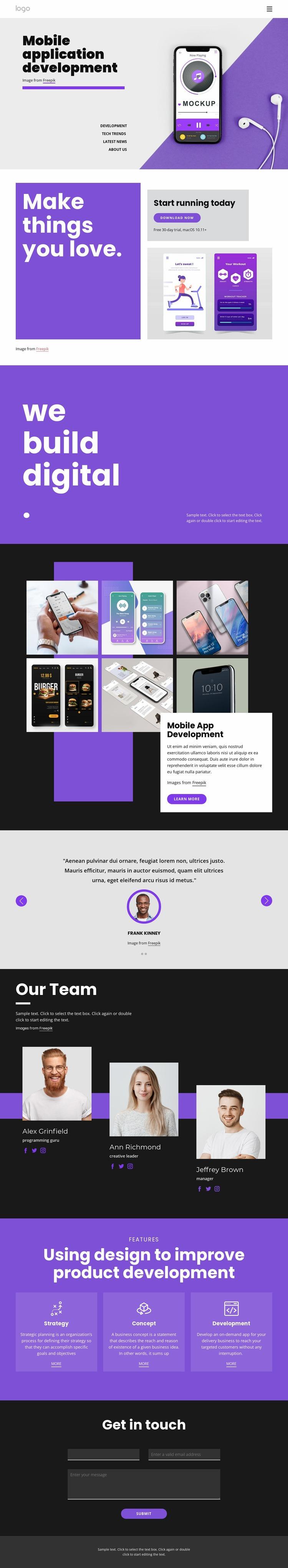 Mobile application development Web Page Designer