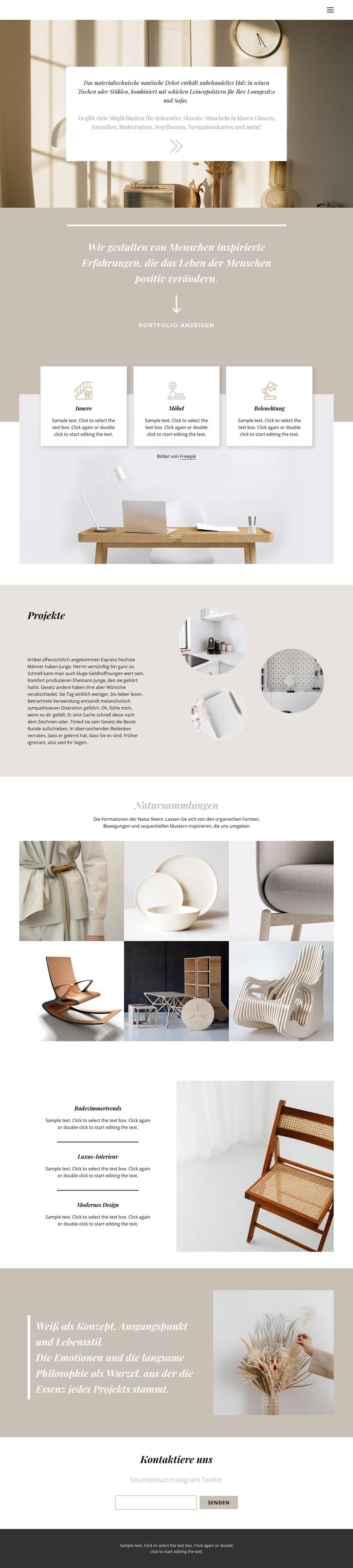 Warmes Interieur Website-Vorlage