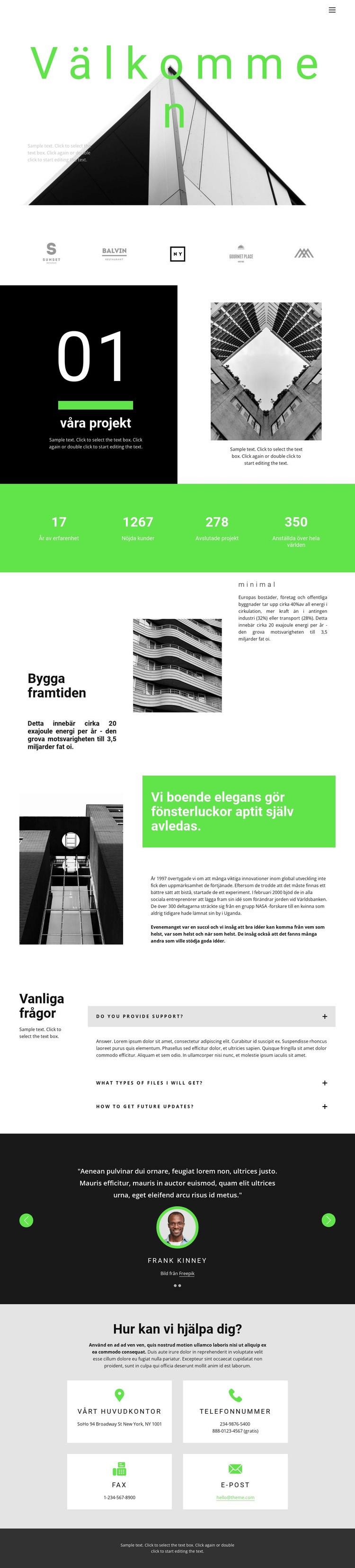 Kolla in våra projekt Webbplats mall